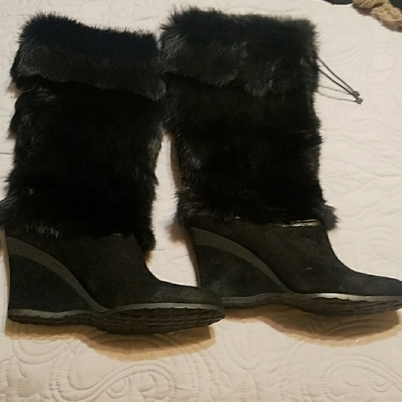 Cole Haan Shoes | Fur Wedge Boots